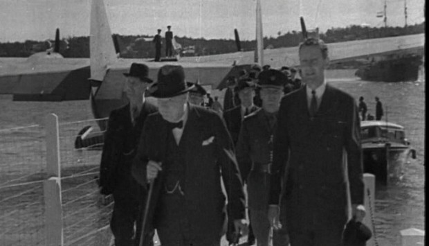 Bermuda Governor Lord Knollys with Winston Churchill at Darrell's Island